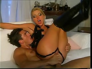 Hot fetish girl in leather lingerie banged very hard