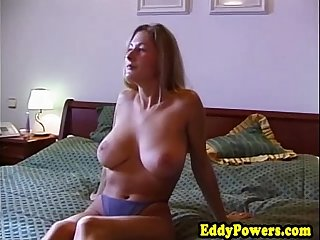Vintage bigtit euro riding on older mans cock